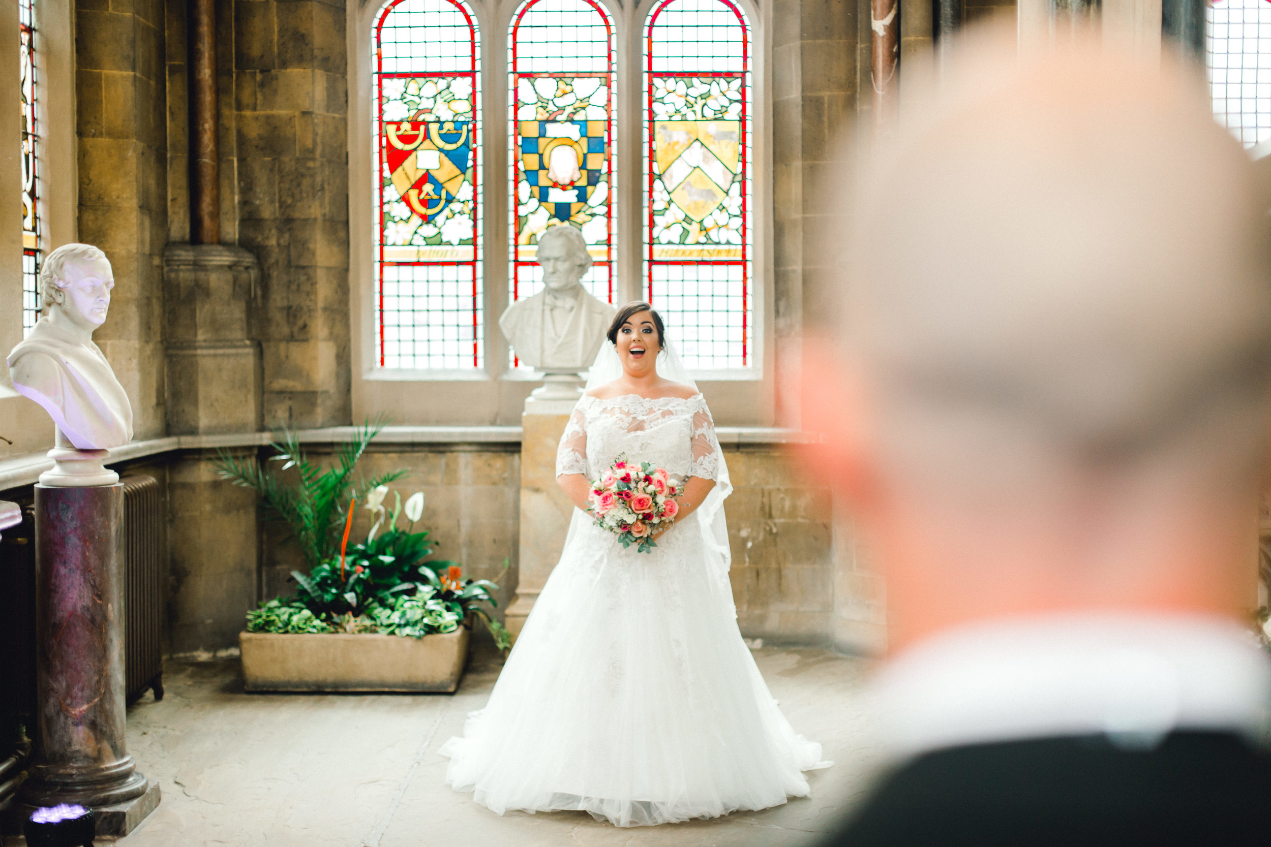 First look for the bride and groom at Rochdale Town Hall