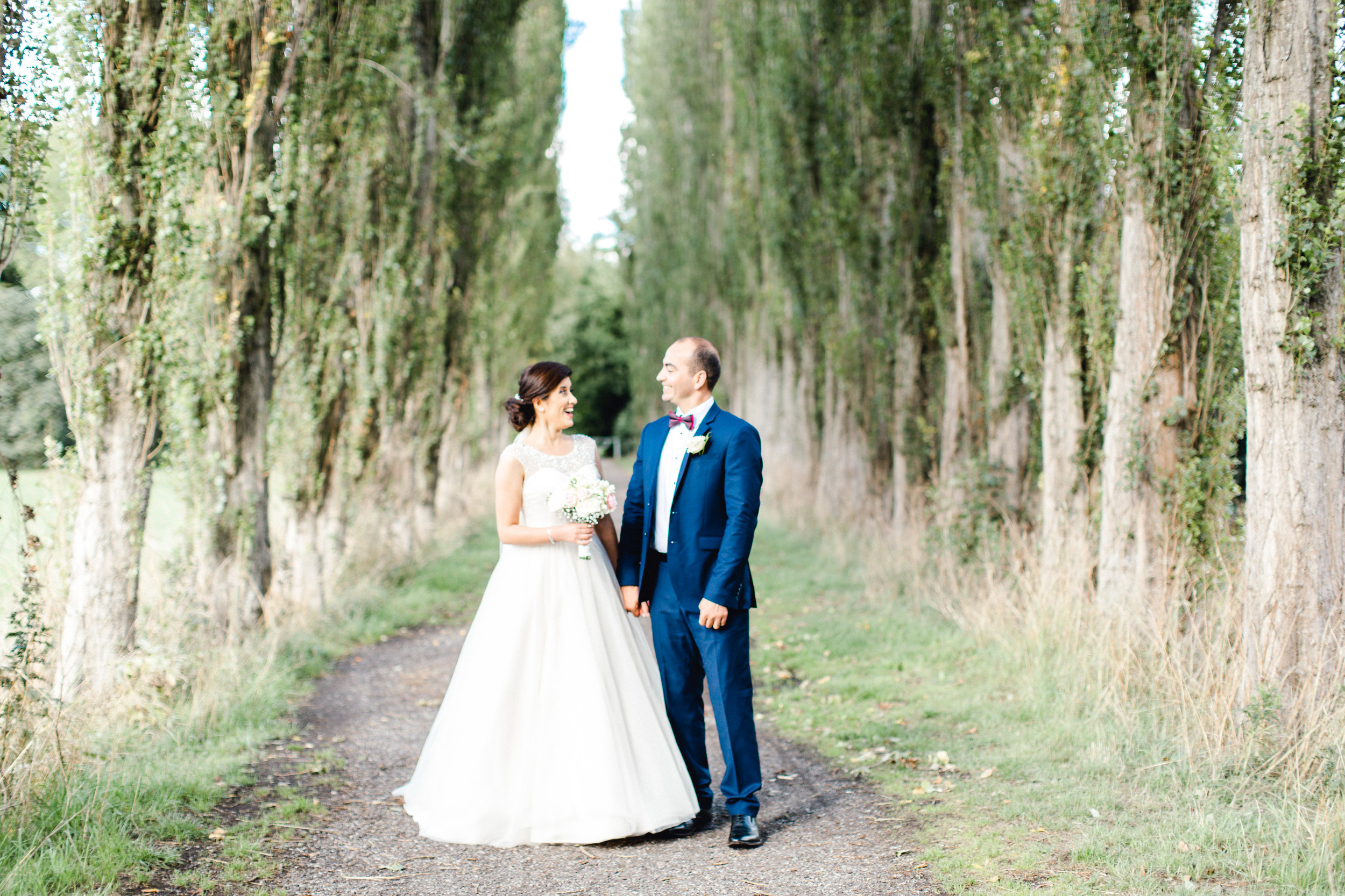Birde and groom portraits at fletcher moss botanical gardens