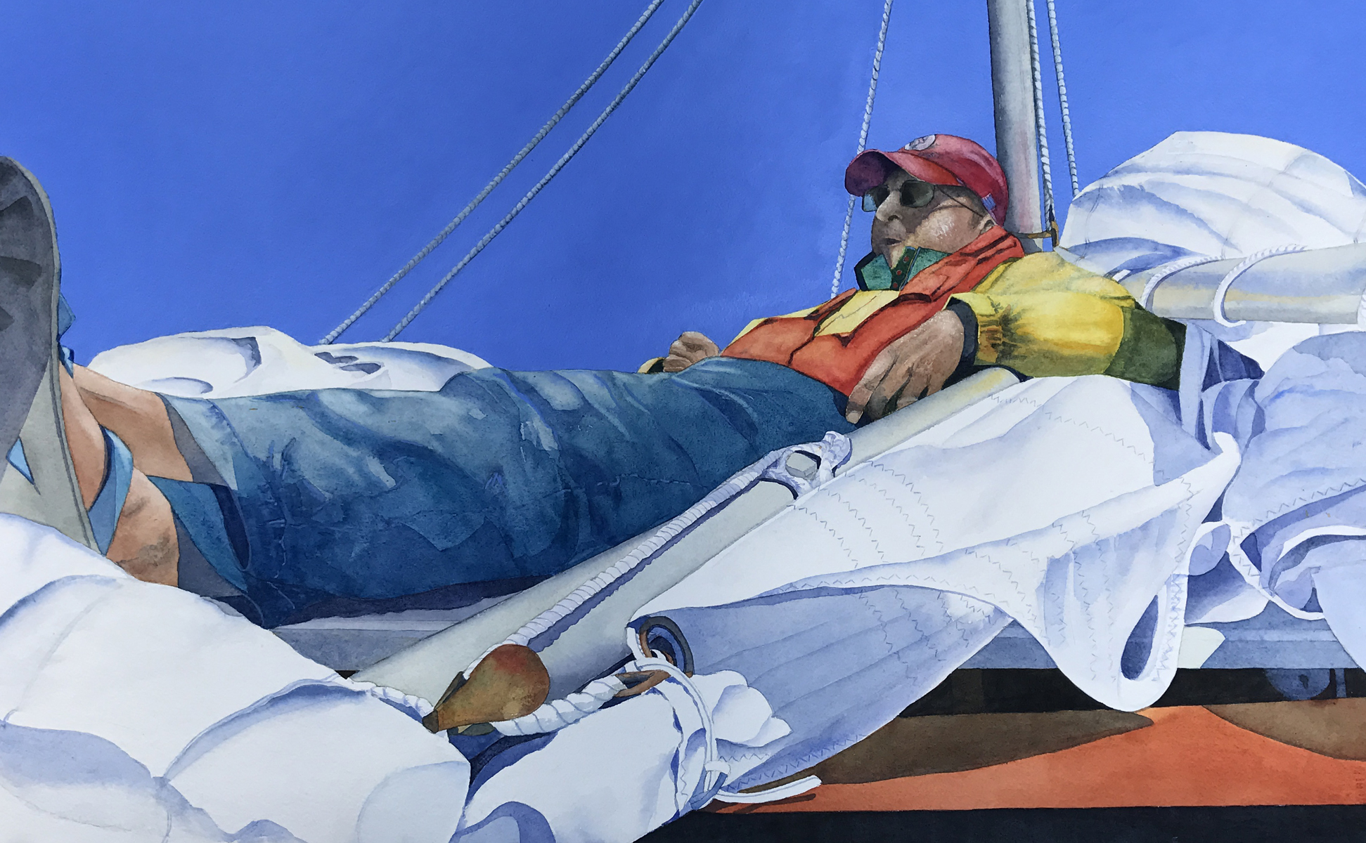 Resting On His Sails   2017 James R. Wilkins Outstanding Achievement Award   Virginia Watercolor Society Winchester, Virginia