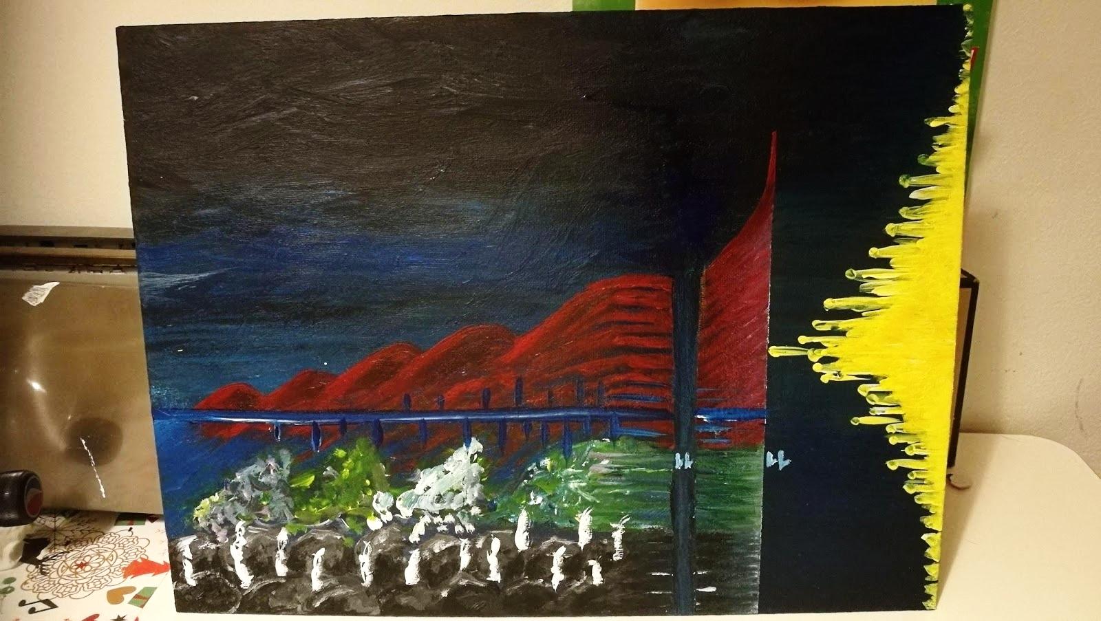 Tästä maalauksesta lähdimme liikkeelle. Luimme maalausta vasemmalta oikealle kuten nuottiakin, ja erilaiset väripinnat kuvastivat eri laulajaryhmien rooleja.