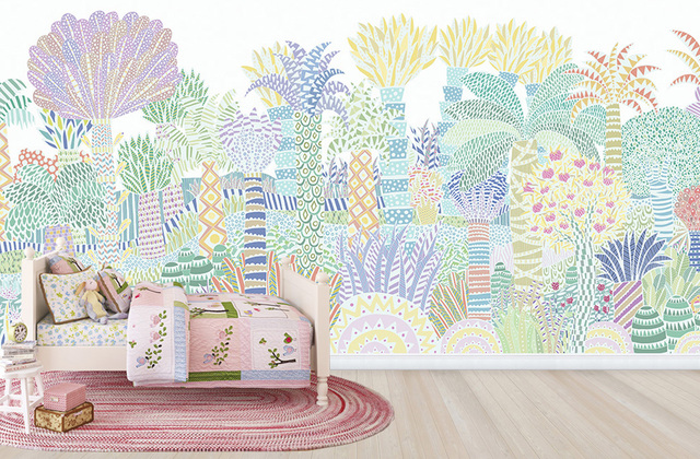 kids bedroom wallpaper jungle pastel colours photowall