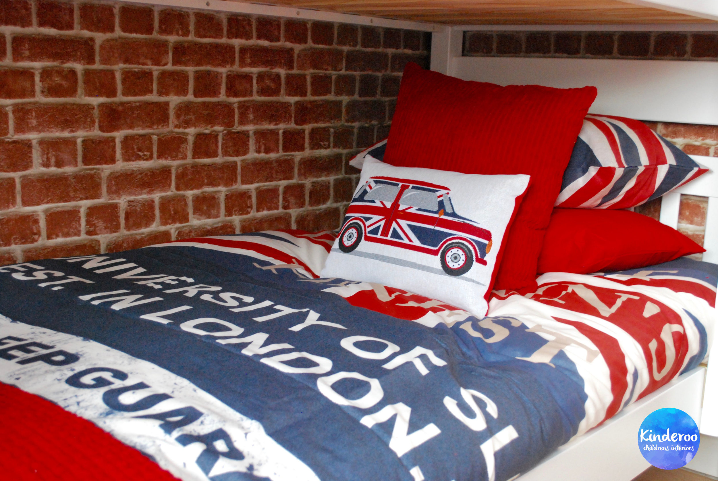 union jack british teen bedroom makeover london bedding by kinderoo childrens interiors for make a wish uk 1