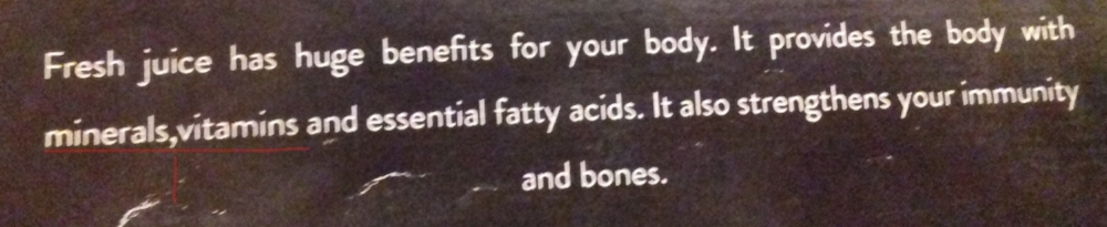 My correction: It provides the body with minerals, vitamins and essential fatty acids.