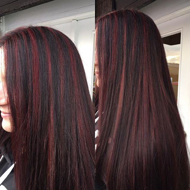 Red Highlights on this clients beautiful long hair💋😘 Color , cut & style by Josette at our annadale shop. #hairexpress #haironearth #lookgoodfeelgood #wella p