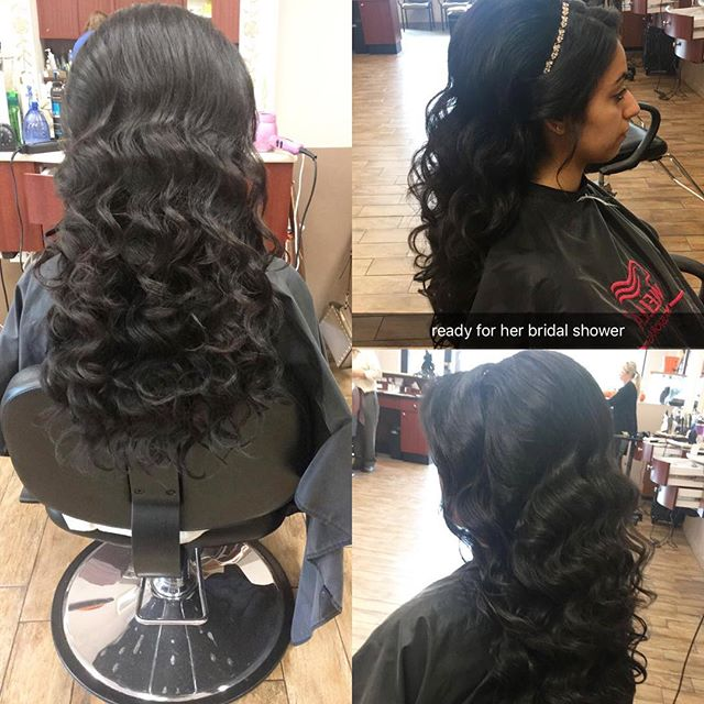 Beautiful style for a Bridal party, and we can put any barrets or fancy pieces into your hair, done By Liridona at our Seguine location #hairexpress #haironearth #lookgoodfeelgood