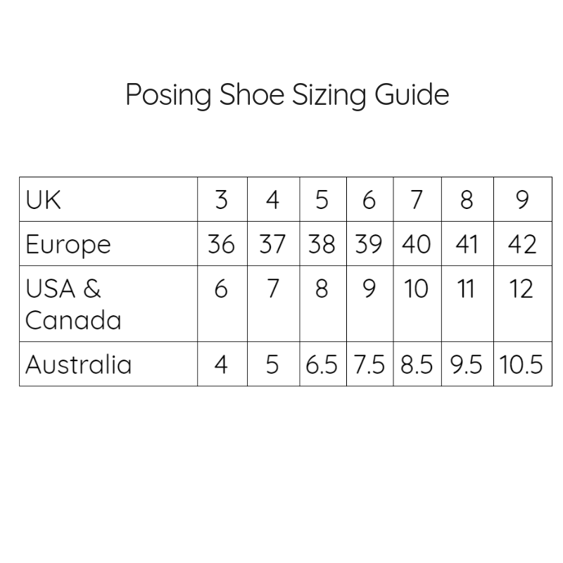 Posing Shoes Size Advice Guide