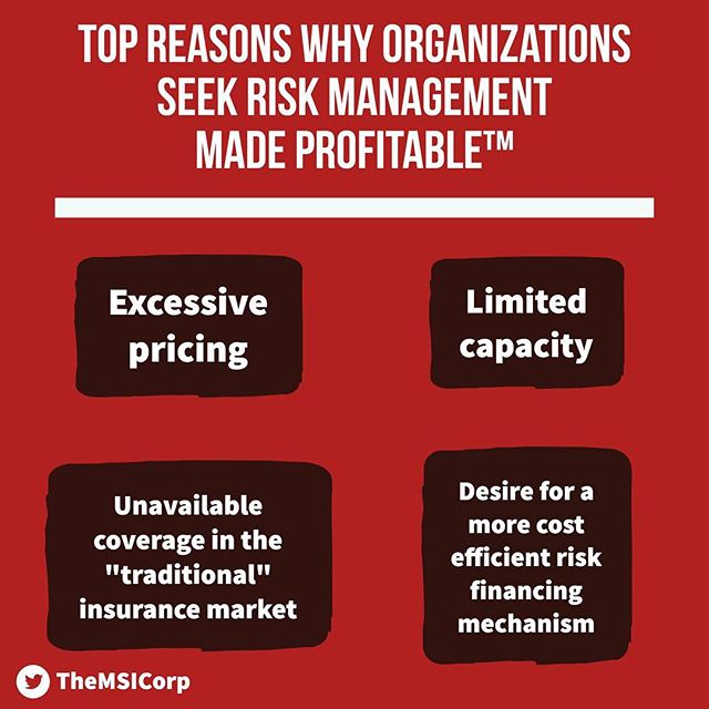 """There are 4 main reasons why individuals and businesses seek RISK Management Made Profitable™: 1️⃣ Excessive pricing 2️⃣ Limited capacity 3️⃣ Unavailable coverage in the """"traditional"""" insurance market 4️⃣ Desire for a more efficient risk financing mechanism  Find out how we can help at TheMSICorp.com - Tags: #CaptiveInsurance #insurance #risk #riskmanagement #riskmgmt #WhyMSI #insurancenews #business #finance #professionalservices #tax #taxlaw #taxes #risksolutions #privateinsurance #cic #nccia #IRS #smallbusiness #management"""