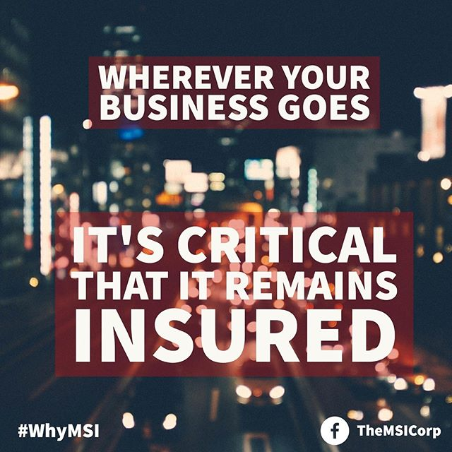 Regardless of where your business is or where it goes, it must always be insured. Risk is everywhere, and anything can happen at anytime. Stay protected with MSI solutions. - Reach out and learn how MSI can enhance your business needs: ☎️: (833) INS-RISK ✉️: info@themsicorp.com - Tags: #CaptiveInsurance #insurance #risk #riskmanagement #riskmgmt #WhyMSI #insurancenews #business #finance #professionalservices #tax #taxlaw #taxes #risksolutions #privateinsurance #cic #nccia #IRS #smallbusiness #management