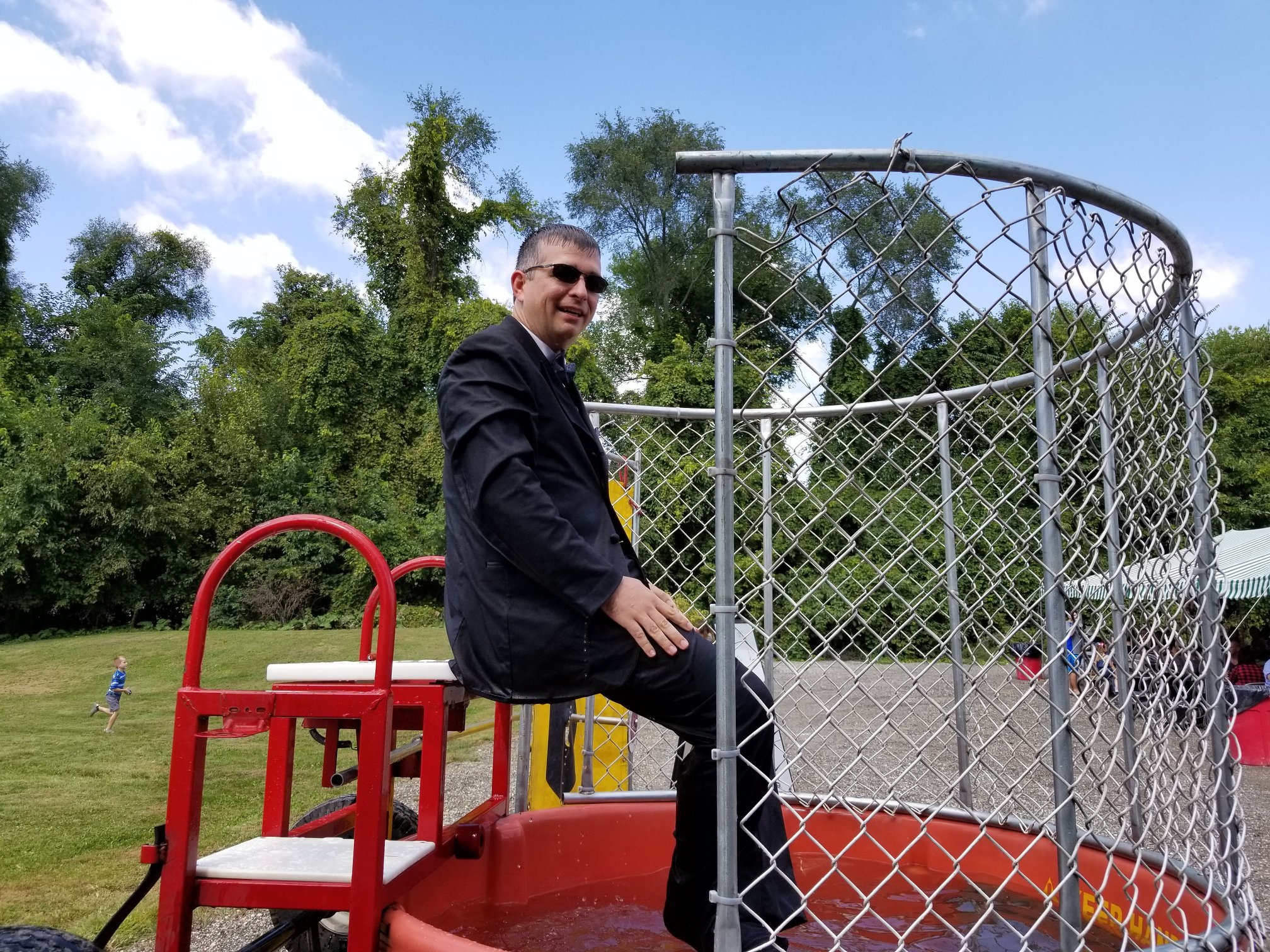 CIO Michael McNett takes his dunk tank duties very seriously.
