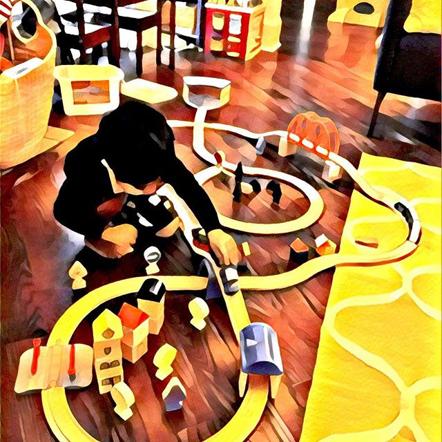 Little dude loves his trains 🚂!!! #justdontsteponit #worsethablegos #choochoo #trains #trains4life