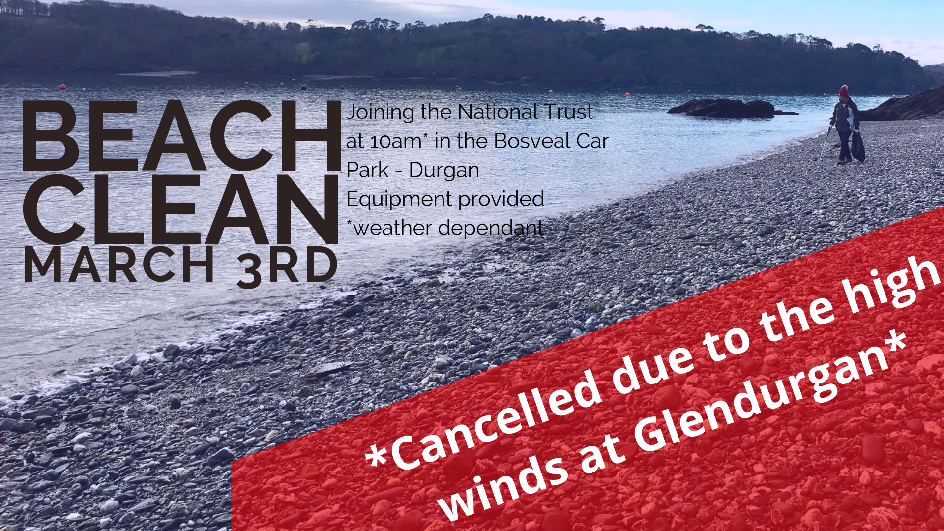 Glendurgan Beach Clean Cancelled
