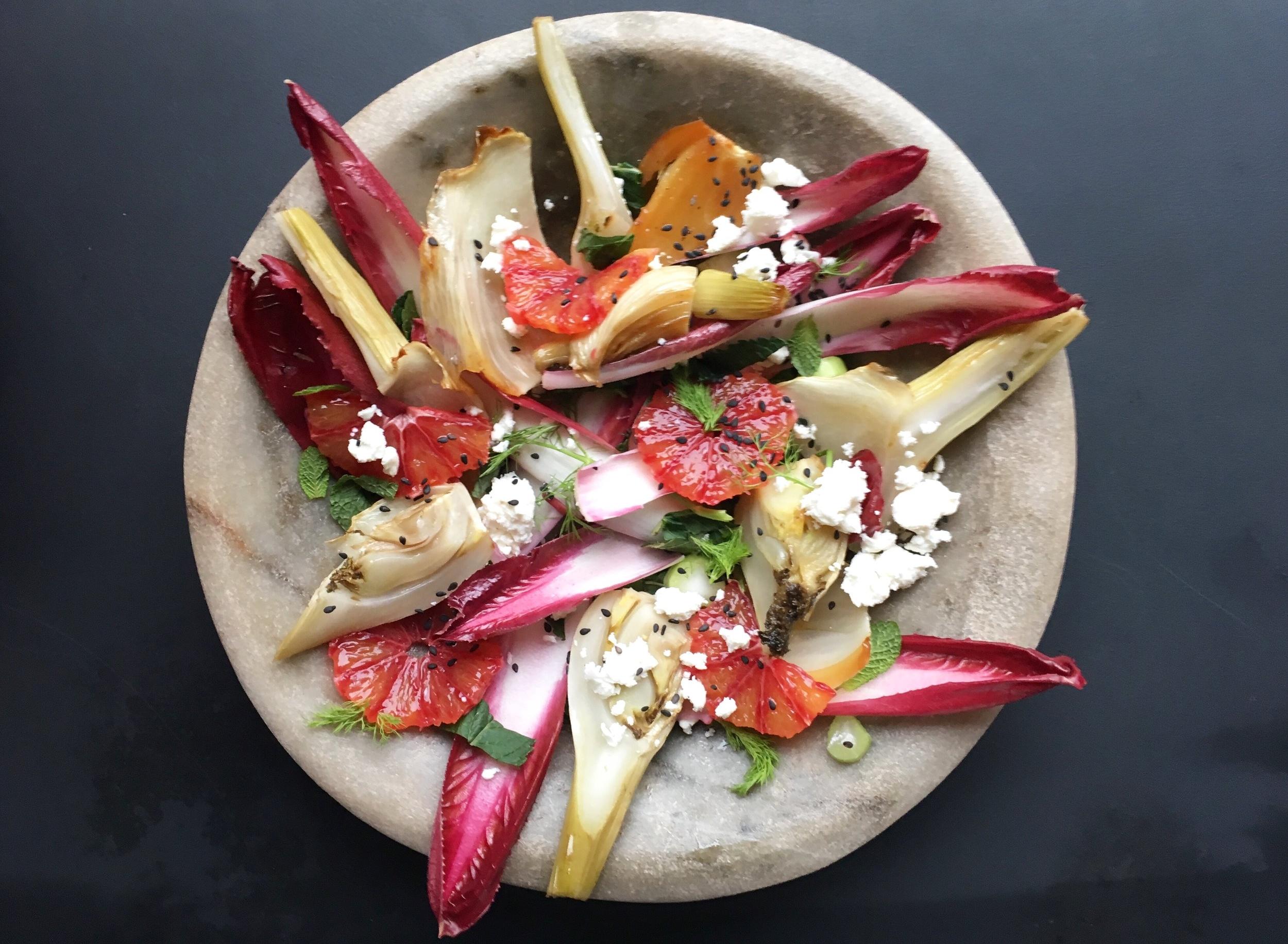 Roasted fennel, blood orange and feta salad