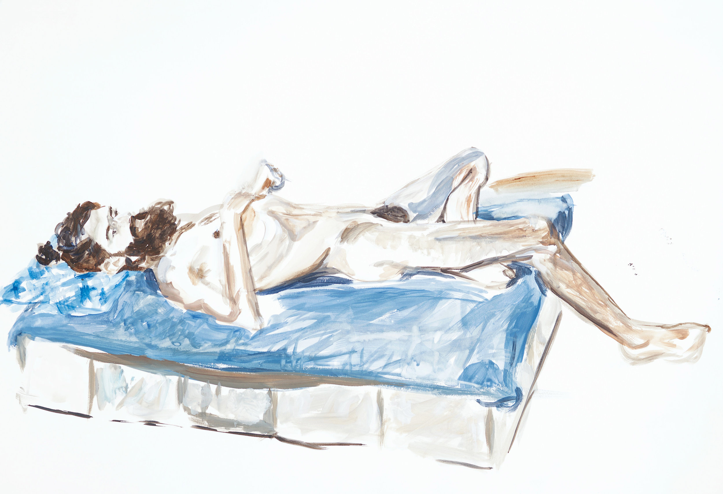 Watercolour life drawing (man lying down), 2018