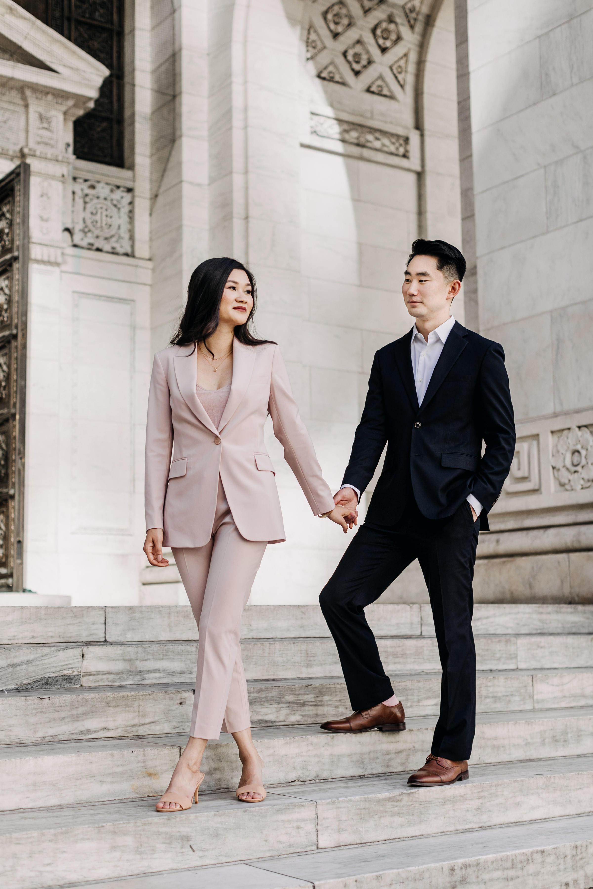 ENGAGEMENTKYLIE&TIM - A Stylish NYC Engagement Session at the NYC Public Library