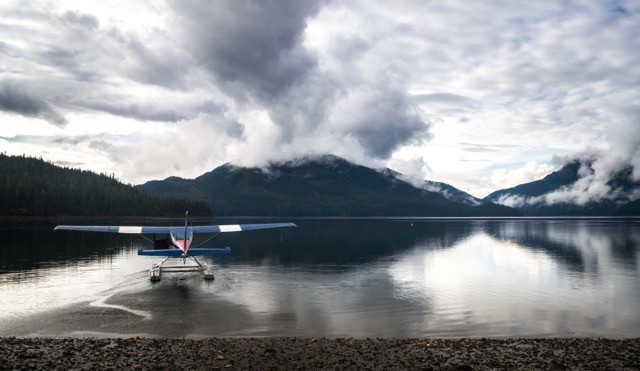 Jacques, flying our float plane far away. PC: Nathan Kelley