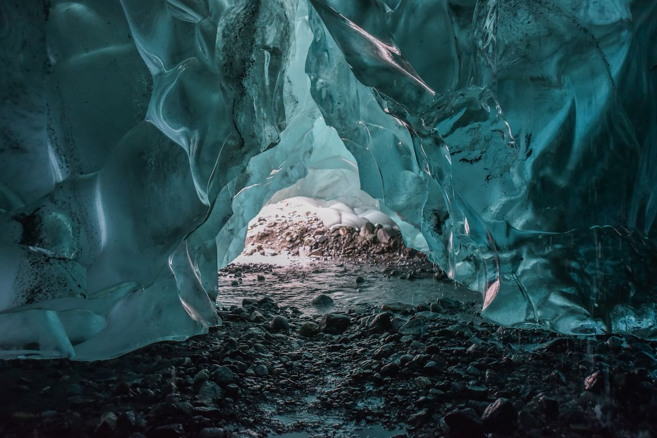 Inside the Mendenhall Glacier