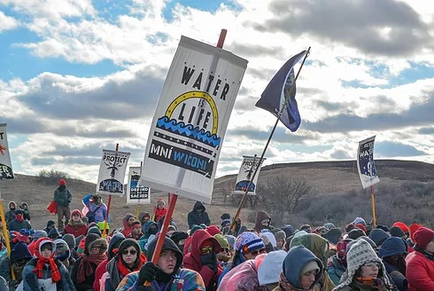 Water protectors marching