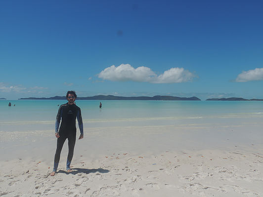 Sunbathing at Whitehaven Beach