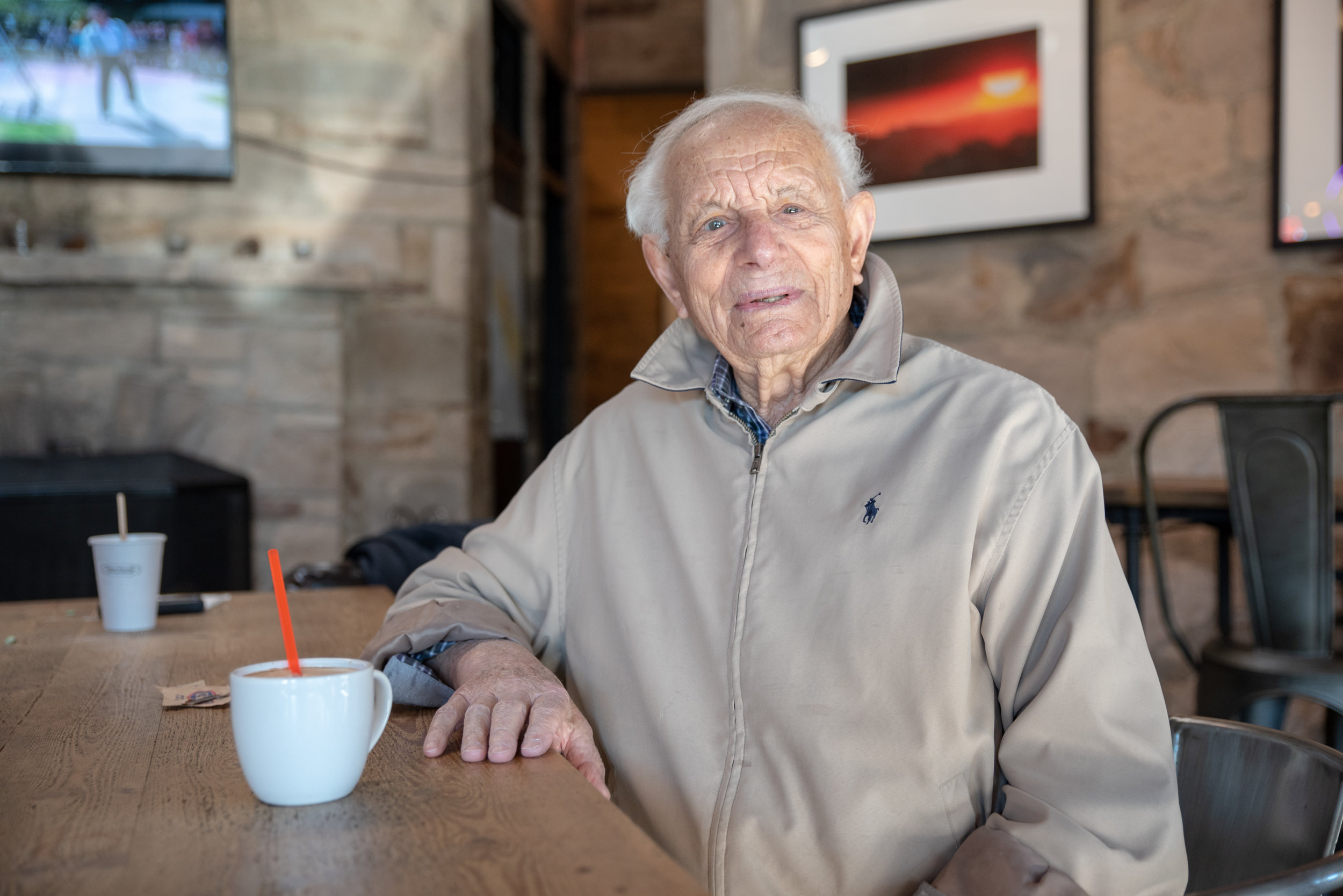 Tom DiMaggio, a 96-year-old retired fisherman who spent 50 seasons in Bristol Bay, spends weekday mornings at the East Village Coffee Lounge, trading stories with members of the local fishing community. He remembers when he started fishing and used to get 25 cents per salmon, which are about 5 pounds each; in about 1955, buyers started paying per pound. (Today, salmon fetches roughly $1.25/pound.)