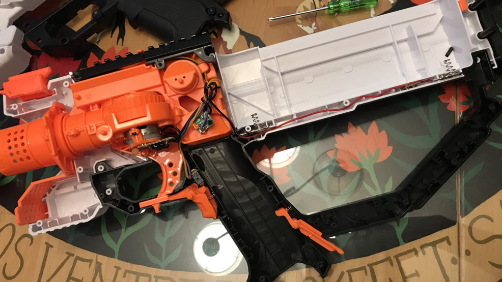 Stock configuration - An original gutted view of the blaster before modification. This was soon to be filled with wires, electronics, and a new coat of paint.