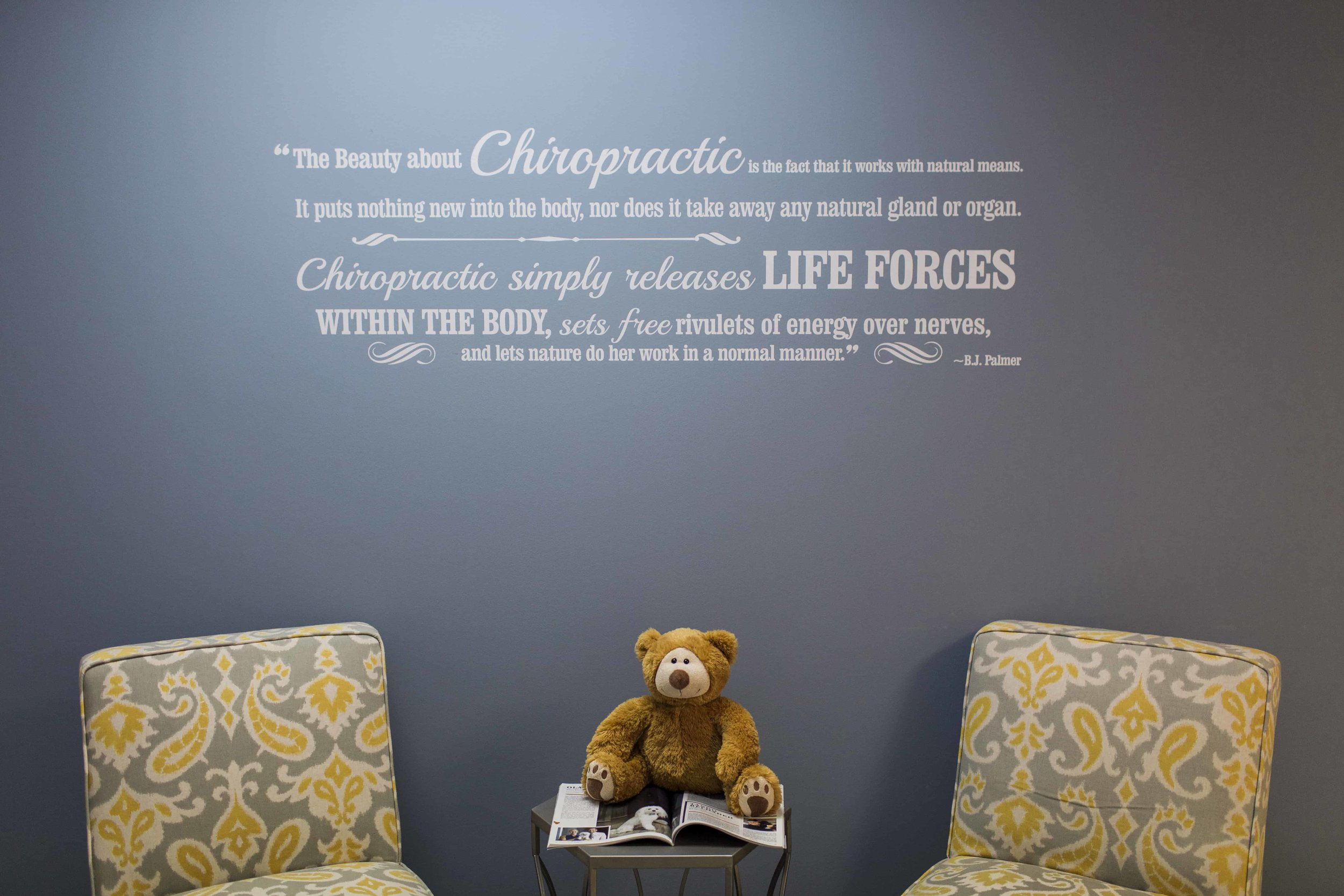 Wall graphics at Achieve Balance Chiropractic office in Columbia, MO