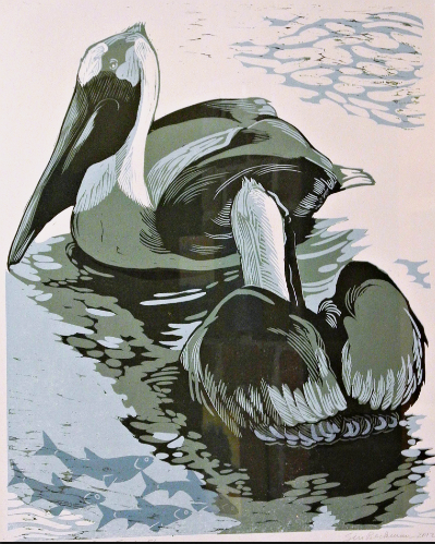 Two Pelicans/Four Fish