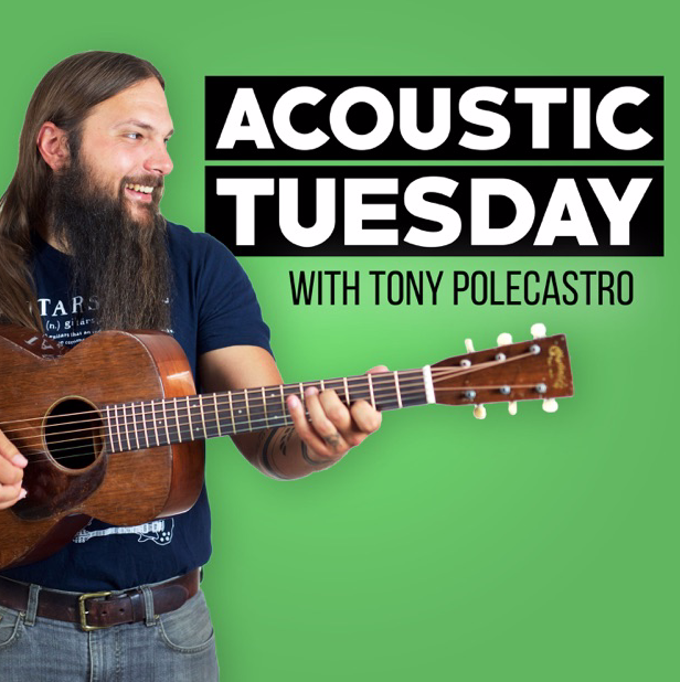 """ACOUSTIC TUESDAY by Tony Polecastro  June 2019  """" Will answers Tony's three acoustic questions in his """"Ask the Artist"""" segment - which artist is inspiring you at the moment? Which is your favourite acoustic guitart? And what's the one piece of gear which changed your acoustic life?  Segment begins at 20:55."""