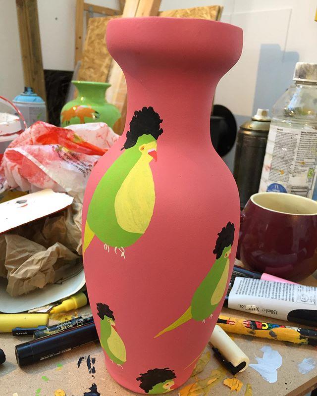New pot in the studio recently. This one is inspired by Jimi Hendrix's parakeets. 🐦 . . . . . #ceramics #pots #euanrobertsart #euanroberts #painting #paint #londonart #artoftheday #kunst #jimihendrix