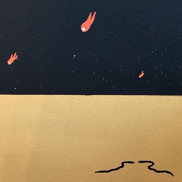 "Detail of a new canvas titled ""It's The Distance Between Us That Keeps Us Apart"". 🐍 ☄️ . . . . . . . . . . . . . #euanrobertsart #artist #kunst #artoftheday #euanroberts #paint #painting #work #artwork #snake #desert #love #londonart"