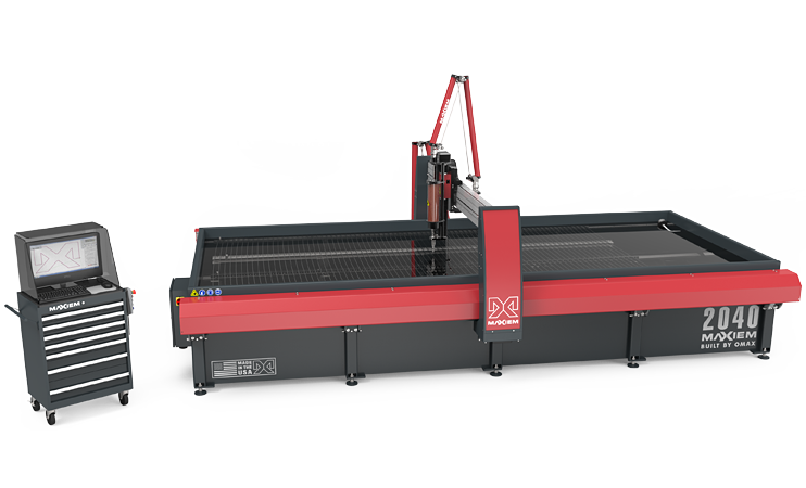 """- The GlobalMAX 2040 is a value-focused abrasive waterjet that can cut almost any material and a wide variety of thicknesses without any heat-affected zone. The 2040 model features a 13' 3"""" x 6' 8"""" cutting bed.Our Omax has a height travel of 12"""". With this we are able to fixture material over the 13'3"""" factory cutting area.Equipped with a terrain follower accessory we are able to keep a consistent cutting height to ensure the proper cut."""