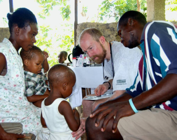 Here are Pediatrician Derek Dephouse and Haitian colleague/interpreter Thevnel Edmond in our clinic in a small mountain village, Pyatt.