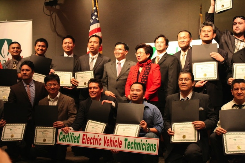 CleanTech Institute's Certified Electric Vehicle Technician Graduation ceremony in Orange County, California 2012. Jordan Brandt was the youngest technician in the class at 25 years old (pictured in the top right).