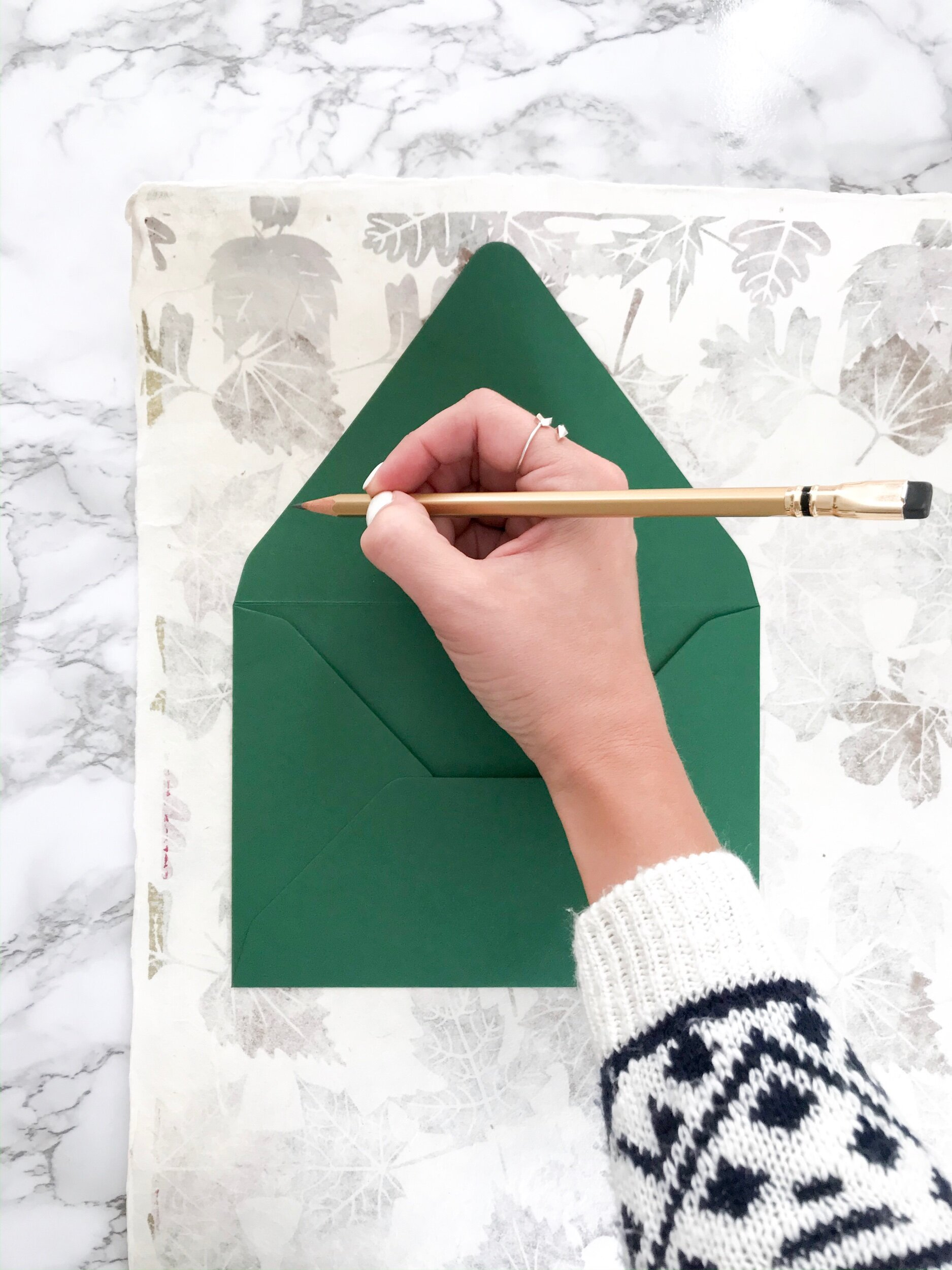 Step Two:  Trace your envelope on the backside of the paper.