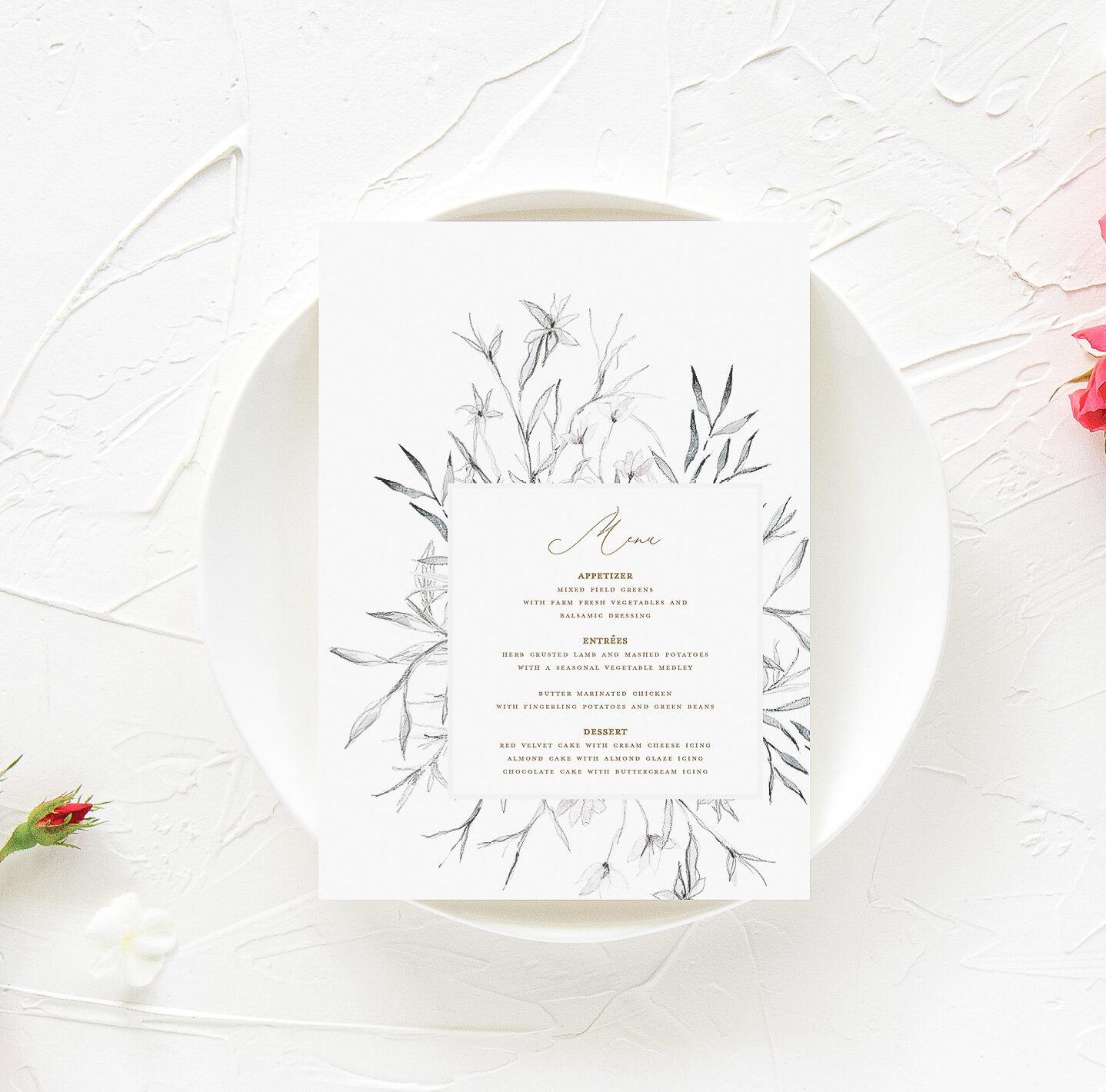 Whimsical Wedding Menu | The Mary Jo