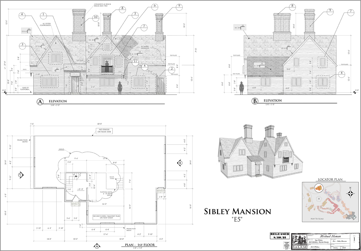 Some of the construction drawings for the set.