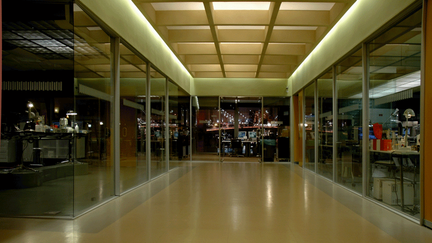 This is the Central Hallway at night.