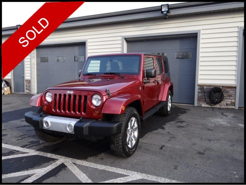SOLD - Make: JeepModel: Wrangler Unlimited SaharaMileage: 91,512 miExterior Color: Deep Cherry Red CrystalInterior Color: BlackTransmission: AutoEngine: 3.6 LDrivetrain: 4x4VIN: 1C4HJWEG1DL500116