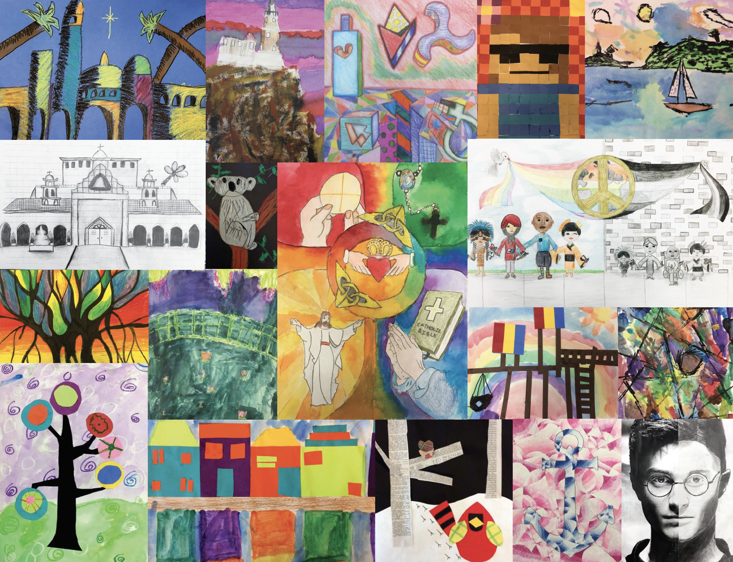 Art Curriculum - The Art Curriculum is based on the Elements and Principles of Art. Introduced in Kindergarten and reinforced and expanded on as the student grows older, the curriculum is an ongoing and sequential process. Materials become more sophisticated as students learn and practice new techniques. Increasingly complex concepts are added, allowing students to build on prior skills and knowledge. Technology is utilized as a teaching tool throughout the curriculum and used as an art medium in middle school. When possible, projects are created using an interdisciplinary approach that requires flexibility and frequent development of new projects that will incorporate the classroom teacher's changing curriculum and Art Standards for each grade level. Everything is designed to build enthusiasm for the subject that celebrates creativity and self-expression!