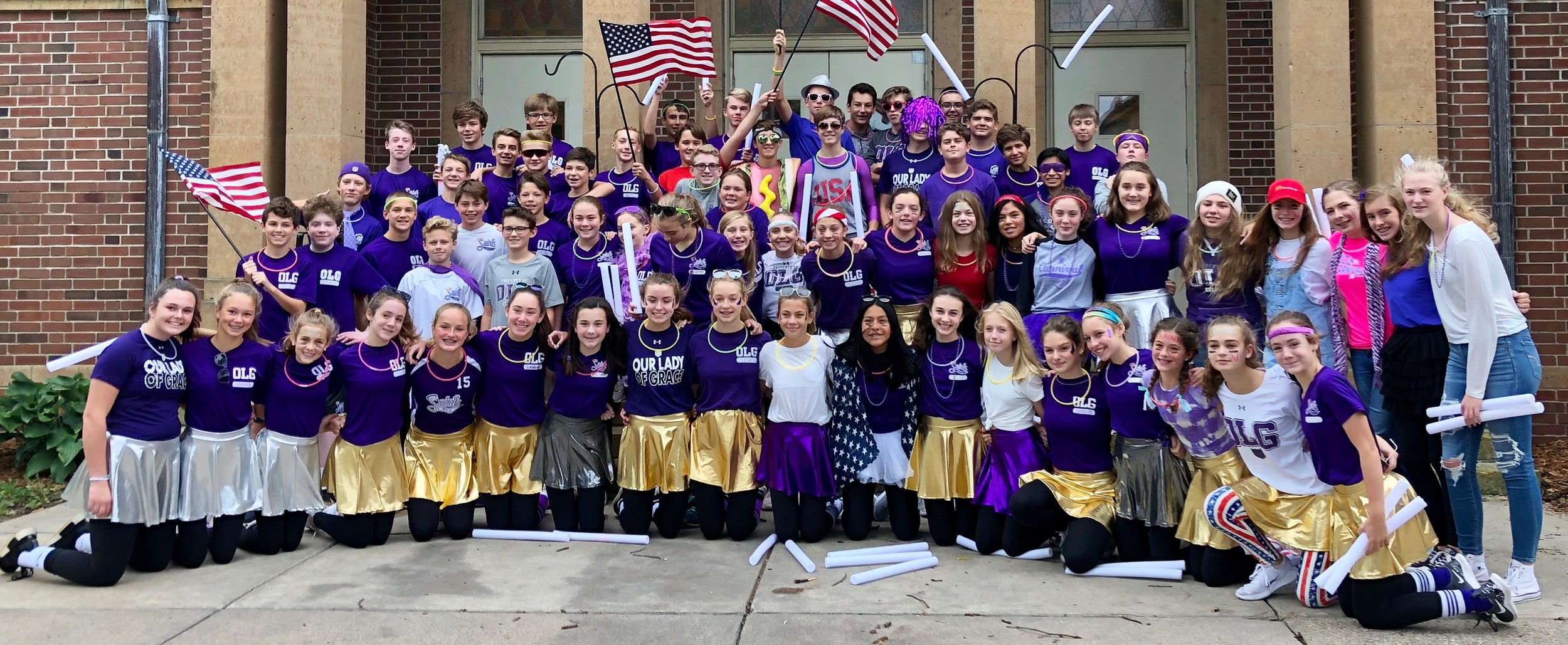 The OLG Class of 2019 after the Dancing with the OLG Stars Marathon Pepfest in September of 2018.