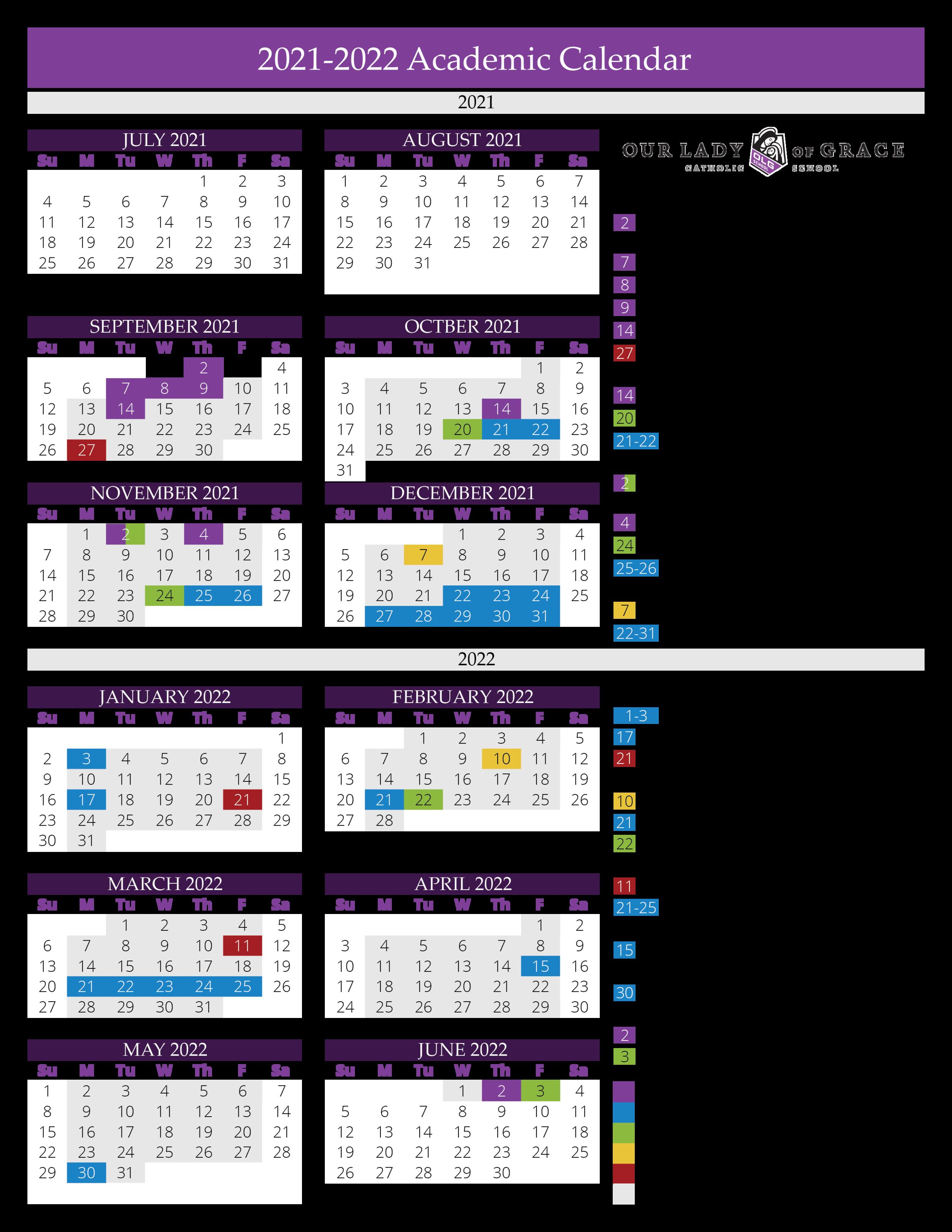 Catholic Church Calendar 2022.Calendar At A Glance 2021 2022 Our Lady Of Grace Catholic School