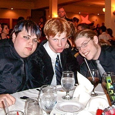 Ah, my freshman year of college. We look like we opened for a My Chemical Romance cover band... pro bono. Brought to you by Hot Topic and Kohl's.
