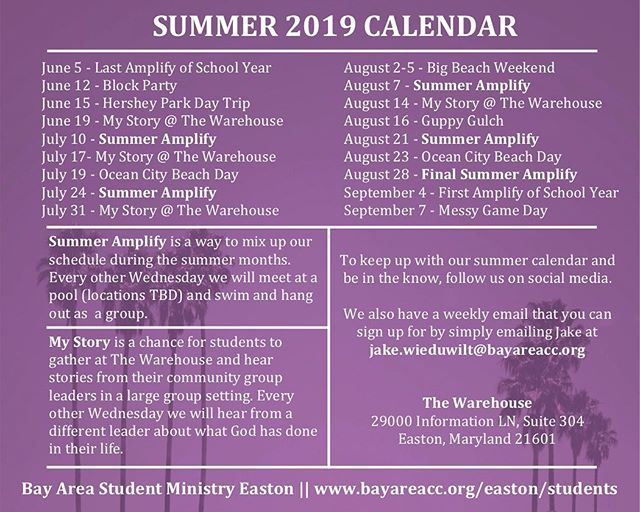 Summer Schedule is out!