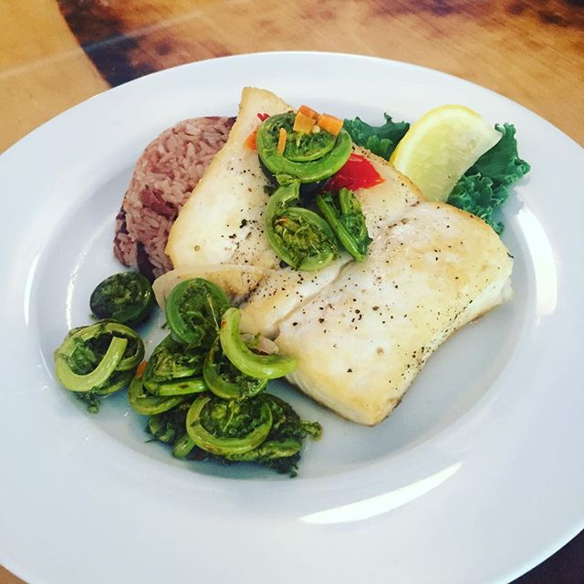 Tonight and through the weekend - Local halibut / pickles fiddleheads / beans n' rice. Thanks Chris & Oshea! #halibut #barharbor #maine #bhlobster #localeats #igersofmaine #foodigers #207 #localfish #fishmonger