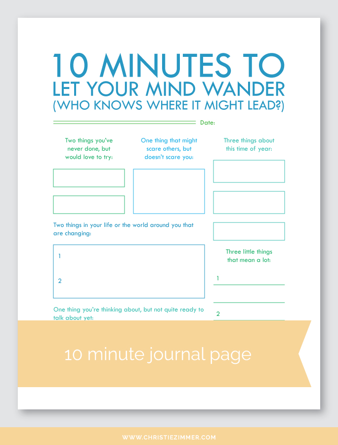let your mind wander (1) printable journal page - FREE!