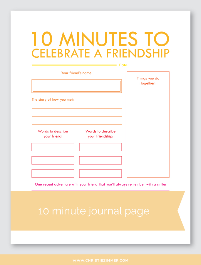 celebrate a friendship printable journal page - FREE!