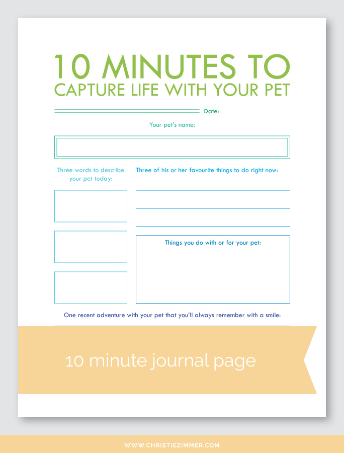 capture life with your pet printable journal page - FREE!