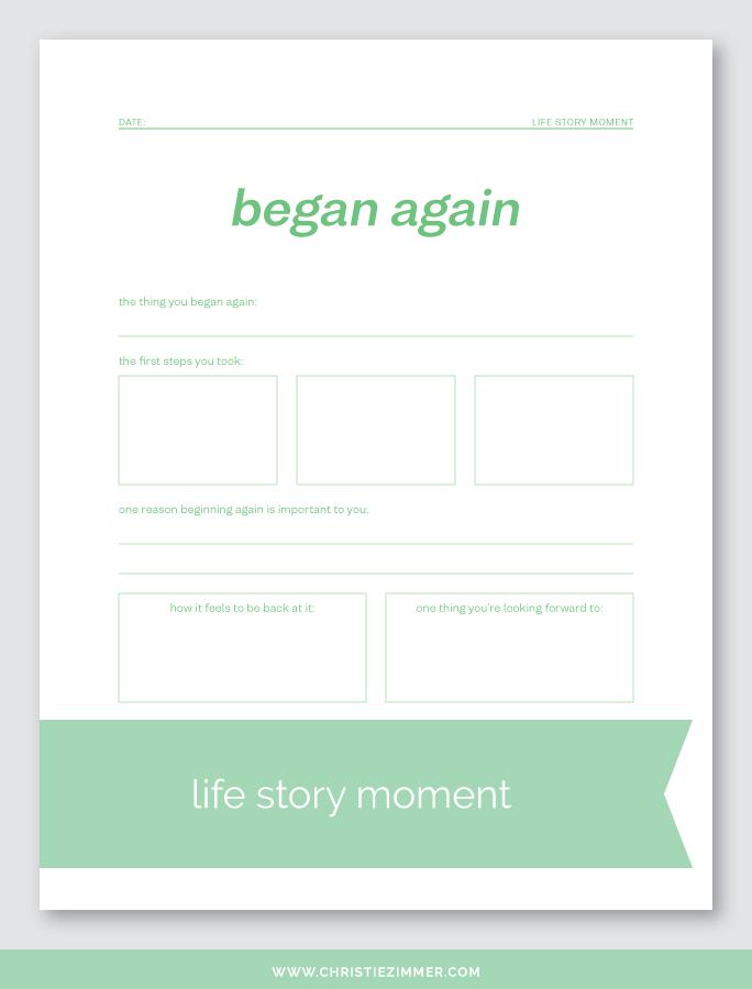 began again printable journal page - Free!