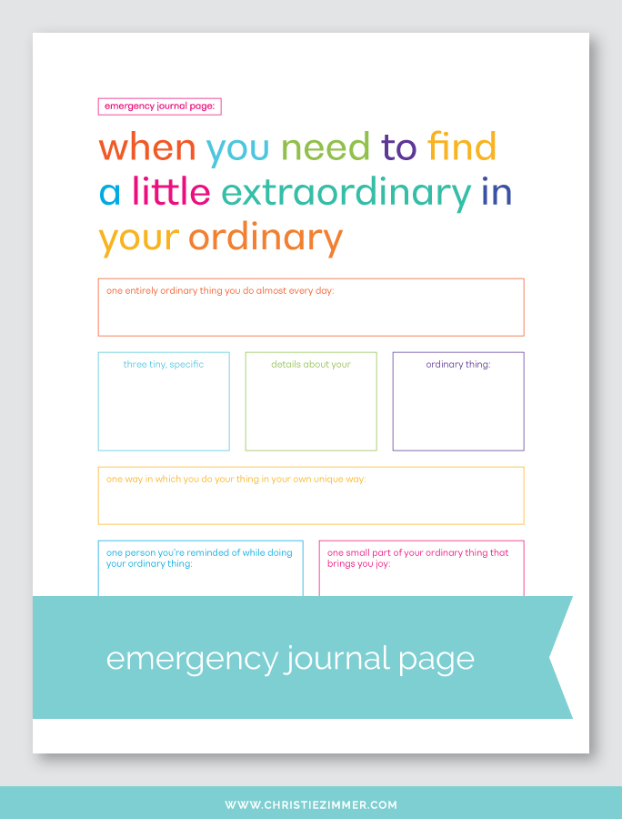 Ordinary extraordinary printable journal page - Free!