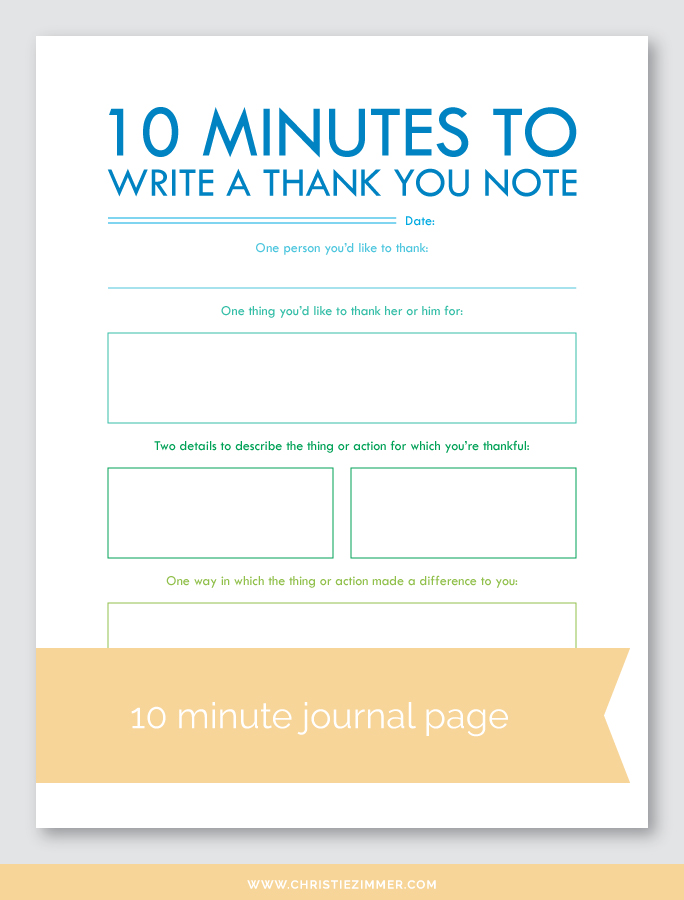 write a thank you note printable journal page - Free!