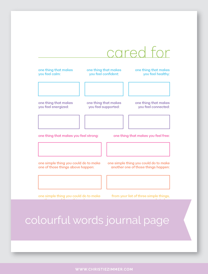 CARED FOR PRINTABLE JOURNAL PAGE - Free!